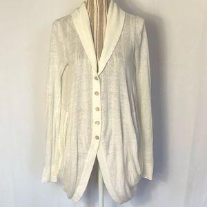 Inhabit off white lagenlook linen button cardigan